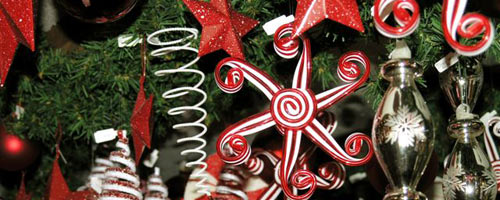 Links. banner of christmas tree with fun, candycane styled ornaments